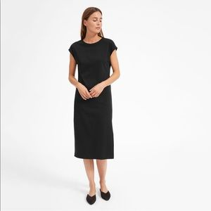 Everlane Luxe Cotton Side Slit Tee Dress Black
